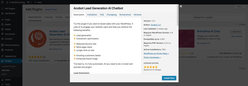 1. Install Acobot AI Chatbot Plugin