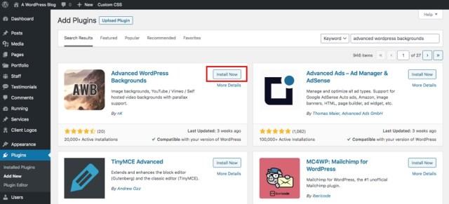 Install Advanced WordPress Backgrounds