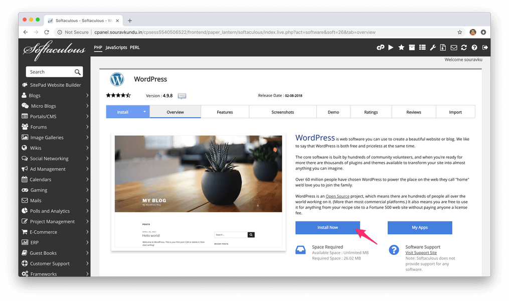 установить WordPress с Softaculous Cpanel 2 установить сейчас