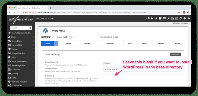 installer wordpress avec Softaculous cPlan 3 installer emplacement information-2