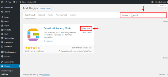 comment installer le plugin getwid gutenberg blocks pour wordpress