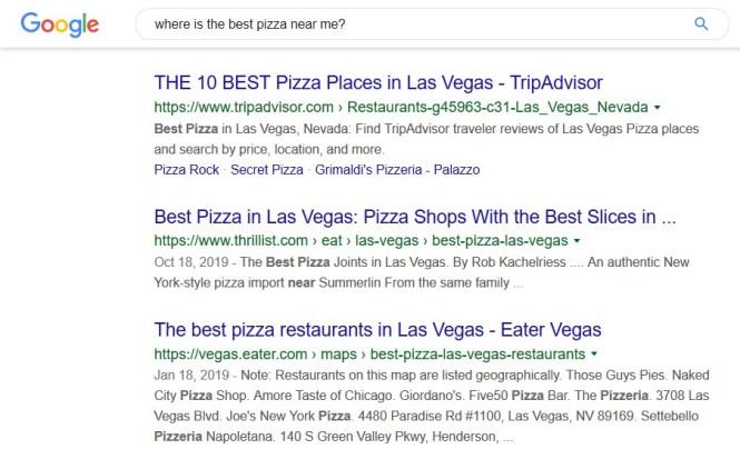 Exemple de recherche de référencement local