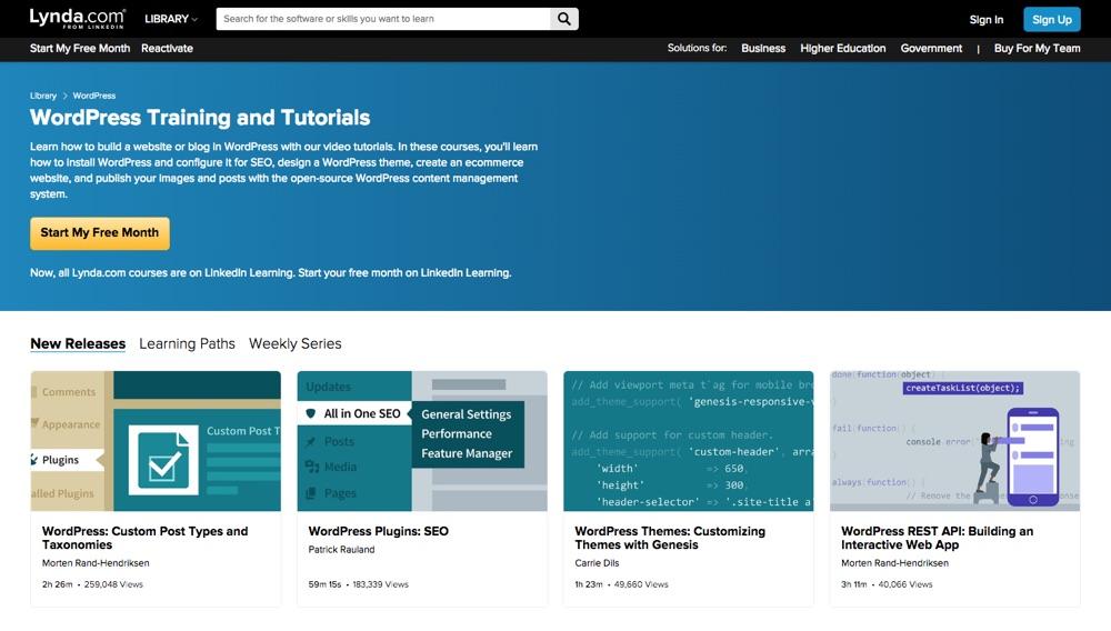 Различные курсы WordPress на Lynda.com