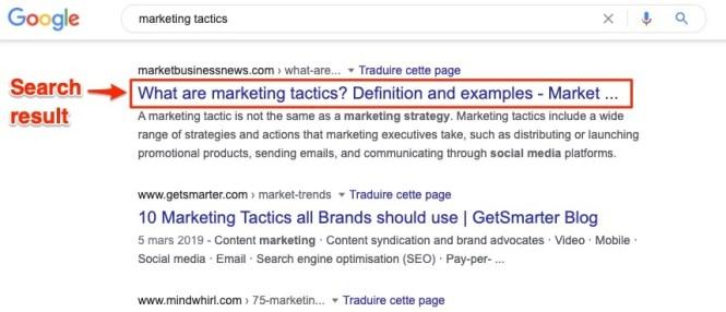 Résultats de recherche Google Marketing Tactics