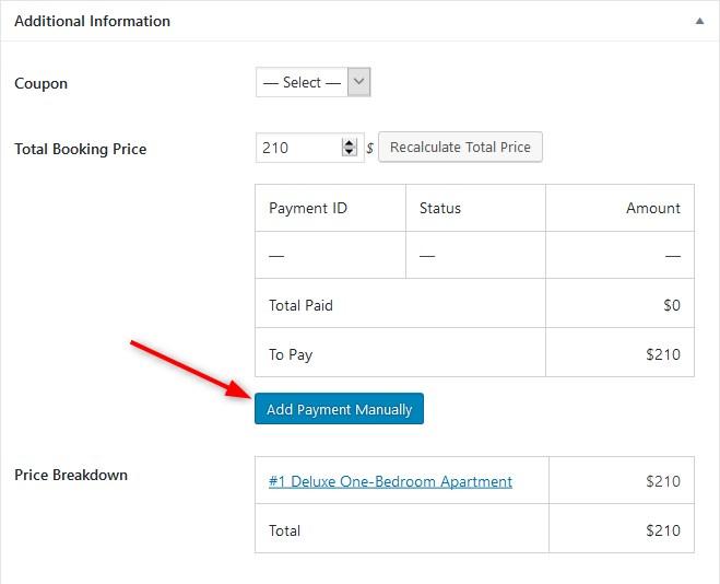 motopress hotel booking plugin ajoute les paiements manuellement