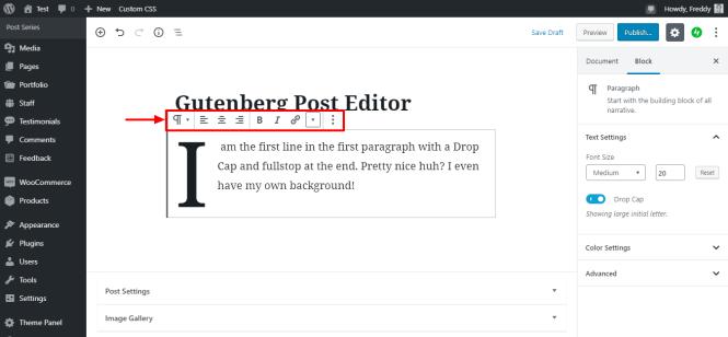 barre d'outils de mise en forme de paragraphe gutenberg