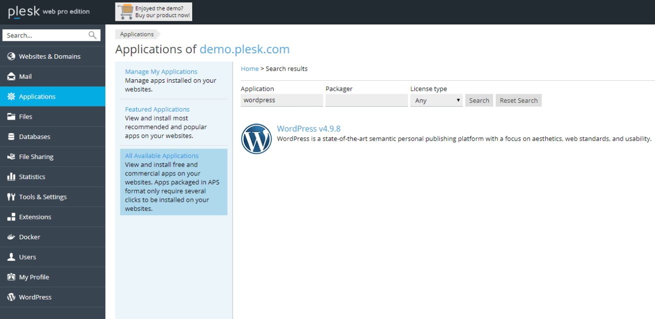 Install WordPress with Plesk