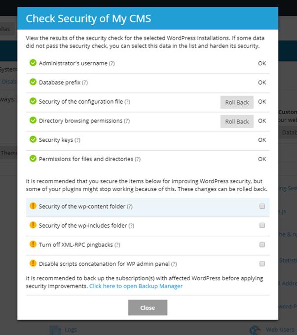 Plesk WordPress Security Check