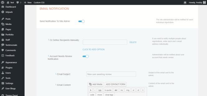Page de notifications par email de profilegrid