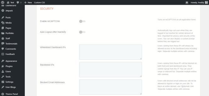 page des paramètres de sécurité profilegrid
