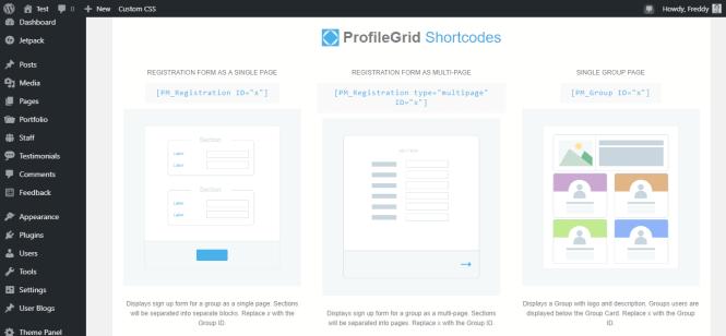 profilegrid shortcodes