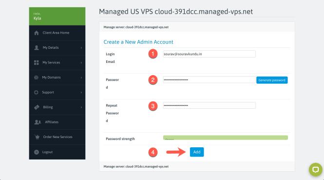 scala hébergement set admin spanel mot de passe vps étape 5