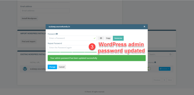 options du gestionnaire scala swordpress - changer le mot de passe de l'administrateur wordpress 3