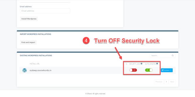 options du gestionnaire scala swordpress - verrouillage de sécurité 4