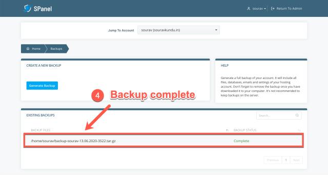 take a full wordpress backup in scala spanel part 4