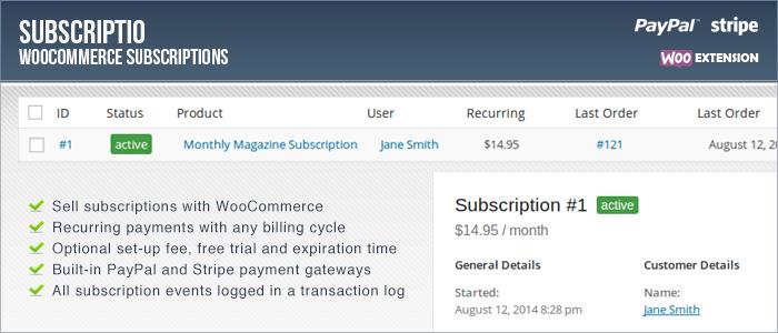 Subscriptio - Suscripciones de WooCommerce Premium WordPress Plugin