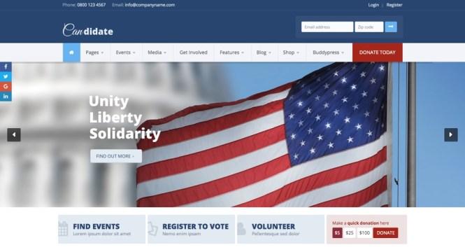 Le thème WordPress du candidat