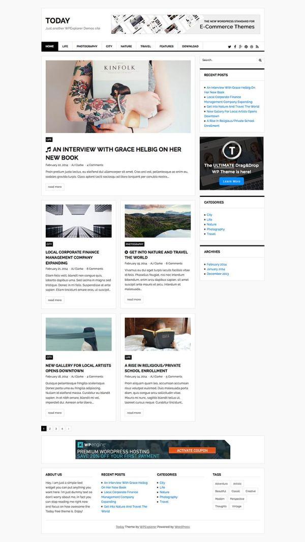 Today Magazine & Blog Free WordPress Theme - WPExplorer