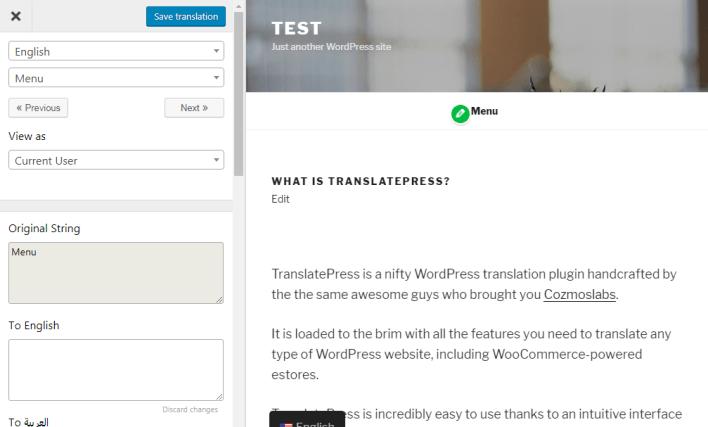editor visual translatepress