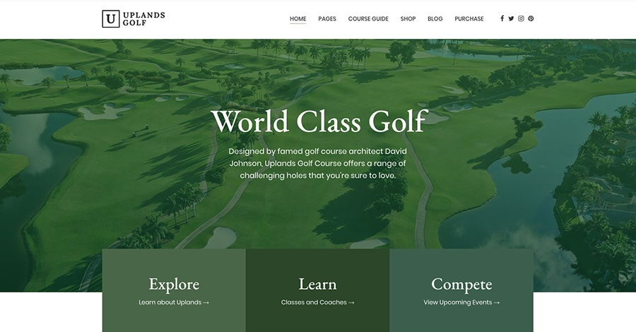 Uplands Golf Course, Driving Range & Golf Pro Booking Theme