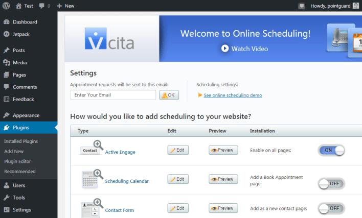 Página de configuración del plugin vcita wordpress