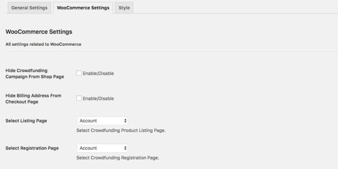 Paramètres de WooCommerce WP Crowdfunding