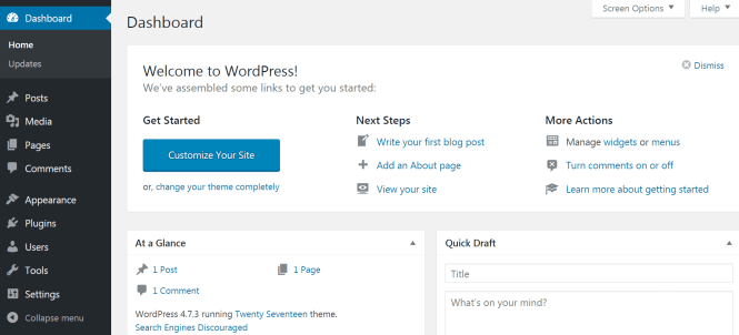 Le tableau de bord WordPress.