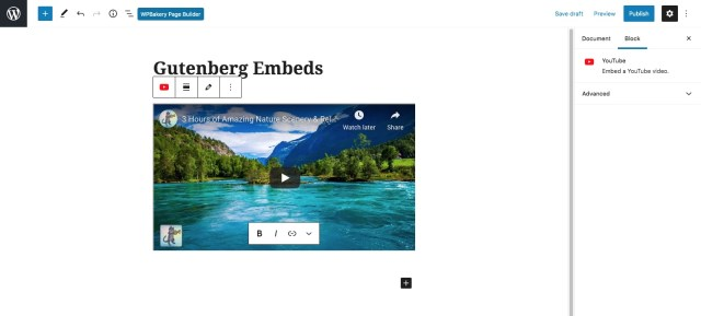 WordPress oEmbed Gutenberg Display
