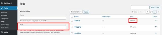 WordPress Tag Slug Example