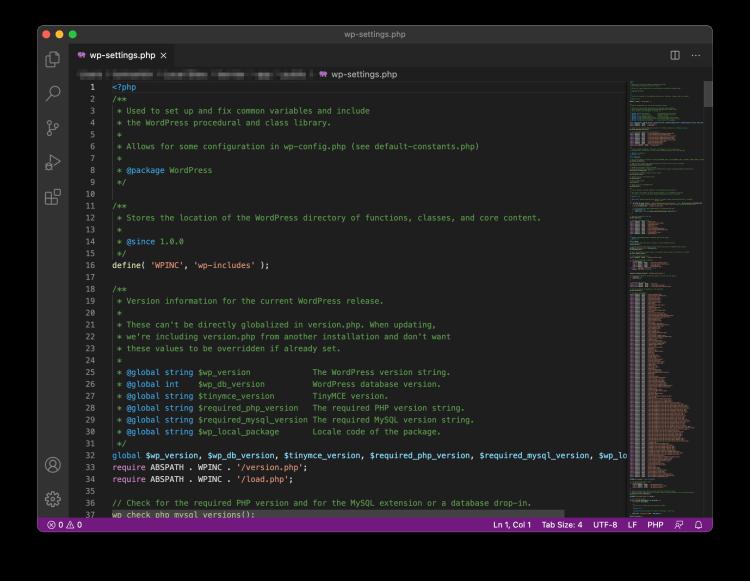 El editor de texto de Visual Studio Code.