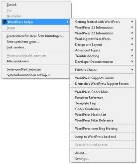 Ecco il menu dìcontestuale dopo l'installazione dell'estensione per WordPress