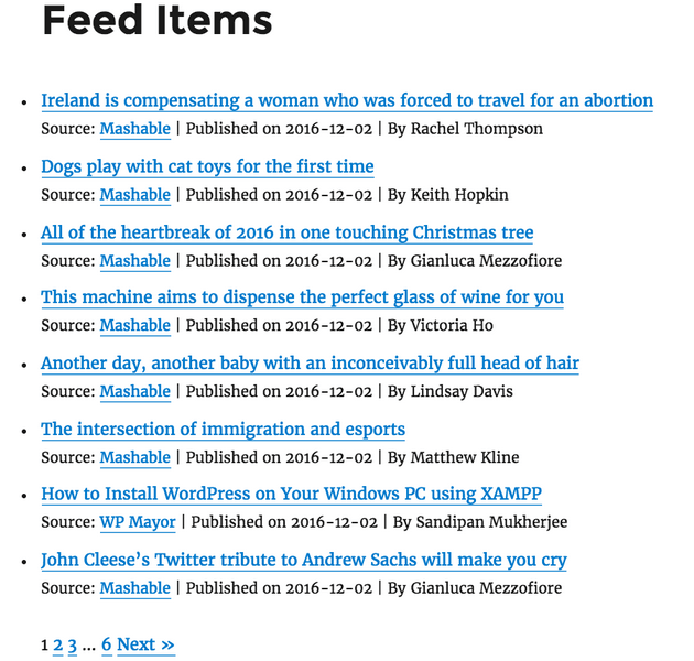 WP RSS Aggregator - Feed Example