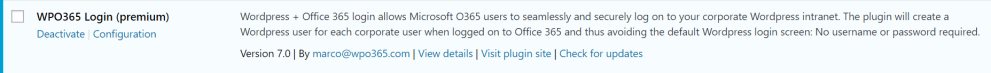 WordPress + Office 365 plugin action link