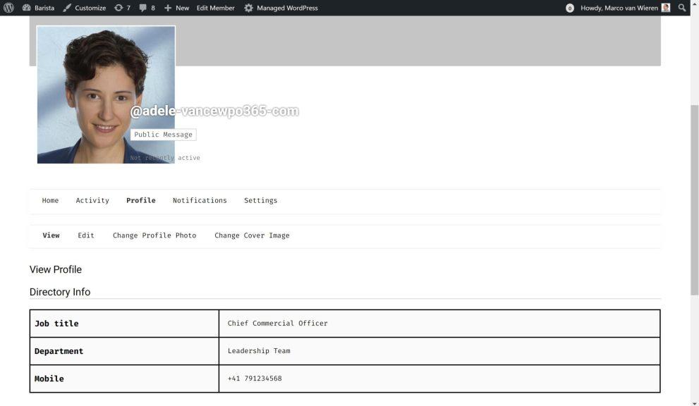 Azure AD user profile photo for WordPress Buddypress Avatar
