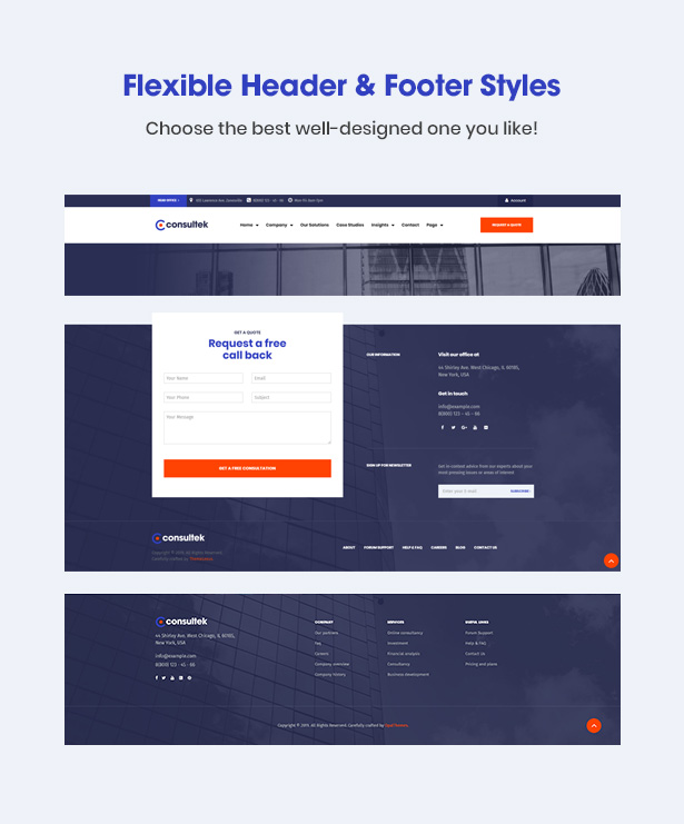 Consultek Header & Footer- Consulting Business WordPress Theme