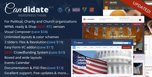 Candidate - Political Nonprofit Church WordPress Theme
