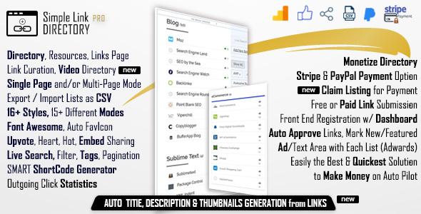 Simple Link Directory Pro - WordPress Plugin