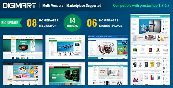Digimart Multi Vendors - Marketplace PrestaShop Theme ( Compatible JA Marketplace )