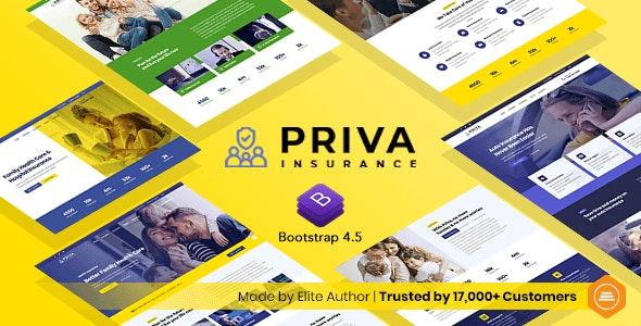 Priva - Insurance Company Website Template + RTL Support