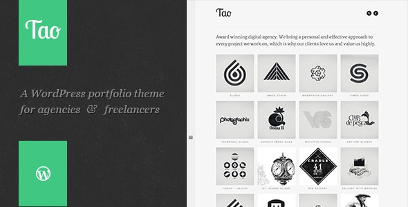 Tao - a Modern - ResponsiveD WordPress Portfolio Theme With Beautiful Transitions and Animations
