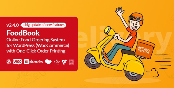 FoodBook Online Food Ordering System for WordPress with One-Click Order Printing