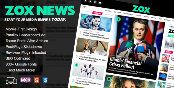 Zox News - Professional WordPress News - Magazine Theme