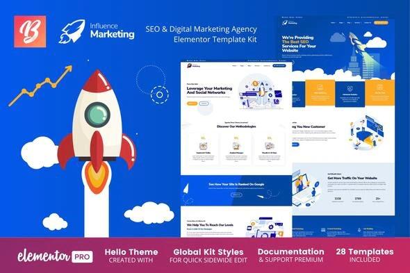 Influence Marketing - SEO - Digital Agency Elementor Template Kit