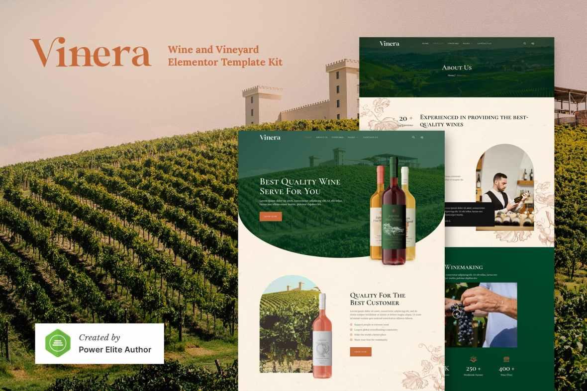 Vinera - Wine - Vineyard Elementor Template Kit