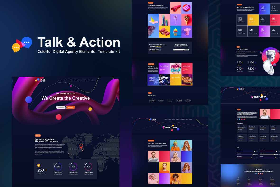 Talk - Action - Colorful Digital Agency Elementor Template Kit