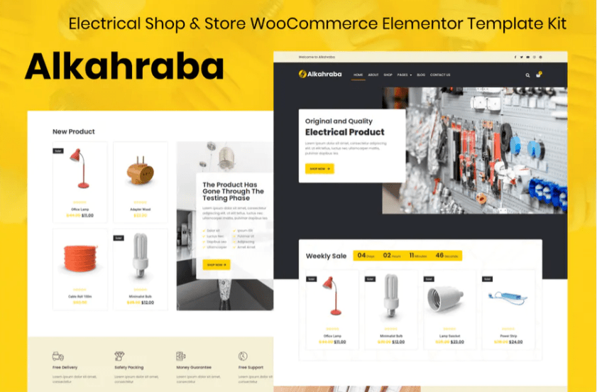 Alkahraba - Electrical Shop - WooCommerce Store Elementor Template Kit