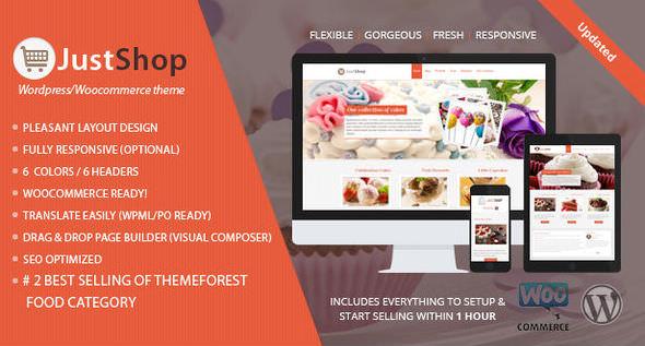 JustShop Cake Bakery - WordPress Theme