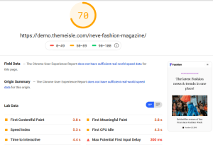 Neva Theme Google PageSpeed Insights Test-Mobile