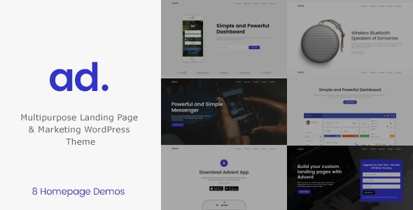 Advent - Marketing Landing Page WordPress Theme