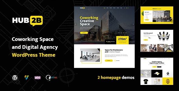 Hub2B - Coworking Space and Digital Agency WordPress Theme